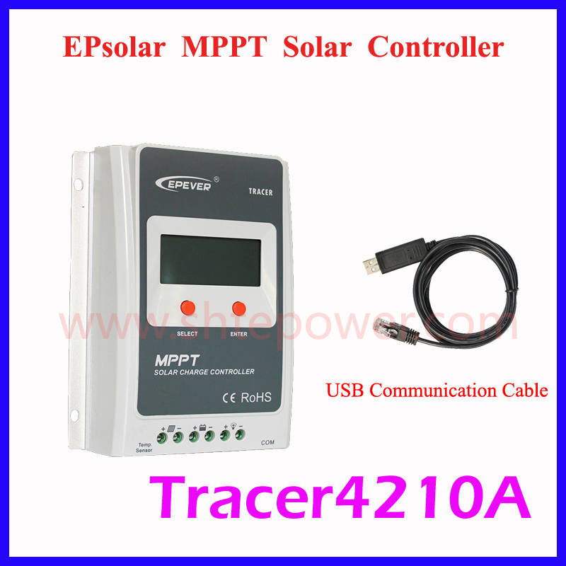 Tracer 4210A EPsloar 40A MPPT Solar Charge Controller 12V 24V LCD Diaplay EPEVER Regulator with USB Communication cable