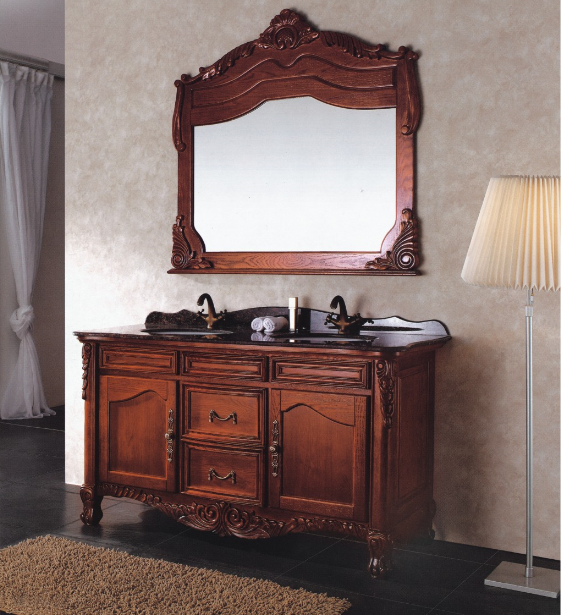 Bathroom cabinet with big size mirror designer oak color  bathroom cabinet