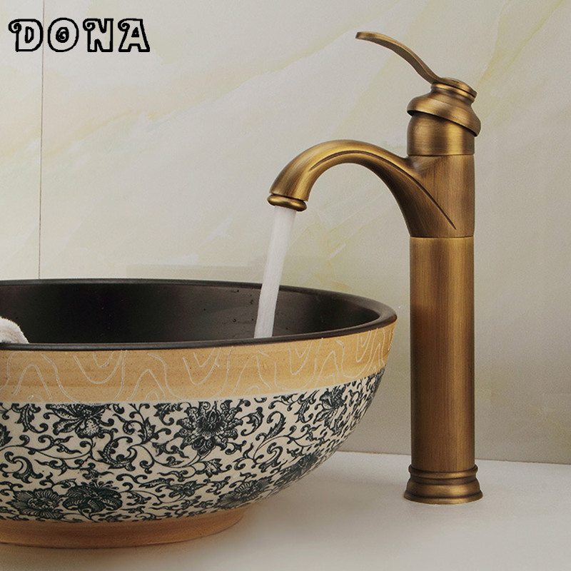 Vintage Style Antique faucet Bronze tall bathroom faucets sink Brass finish washbasin mixer tap DONA4038
