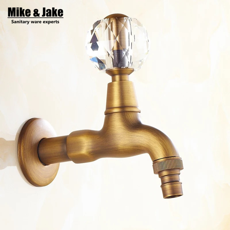 Antique brass Crystal handle washing machine tap single cold mop sink faucet single cold mop tap garden cold garden tap