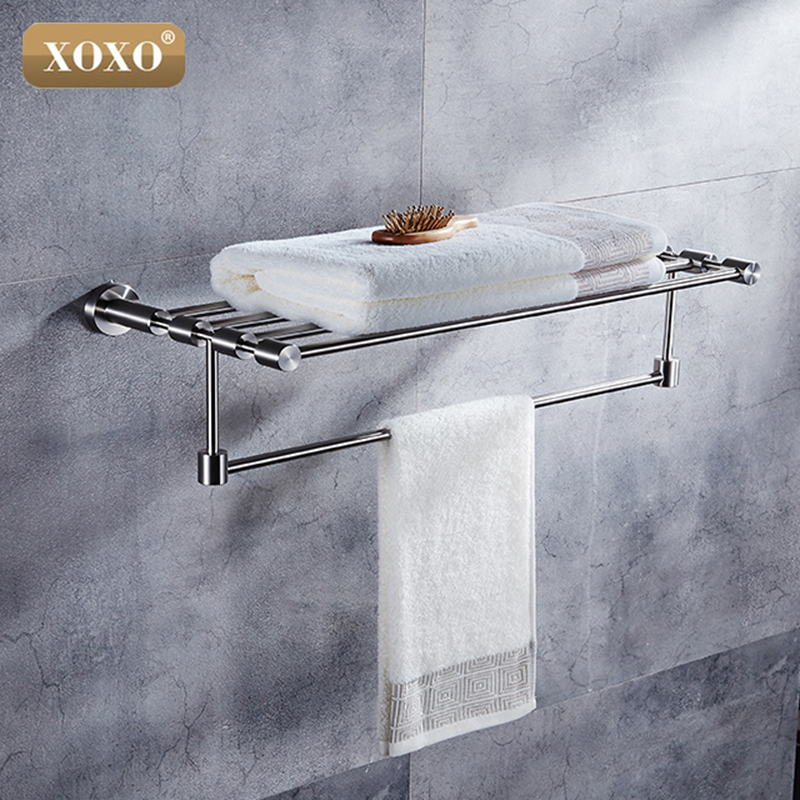 XOXO High Quality Brushed  Stainless Steel Wall Mount Aluminum Bathroom Accessories Double Towel Rack  304 Stainless Steel 4120