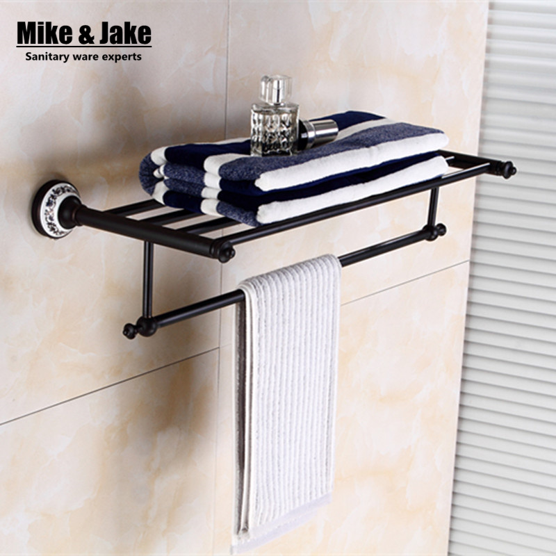 Whole brass Blackend Antique ceramic bath towel rack bathroom towel shelf bathroom towel holder Antique black Double towel shelf