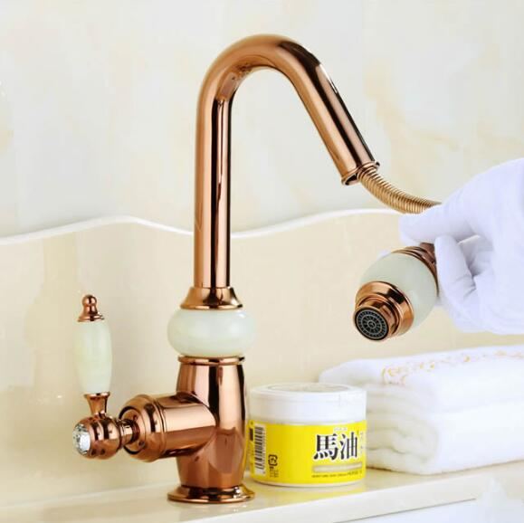 Euro Rose Gold plating Pull out Basin Sink Faucet Luxury Bathroom Basin Faucet Brass and Jade Vanity Sink Mixer water Tap