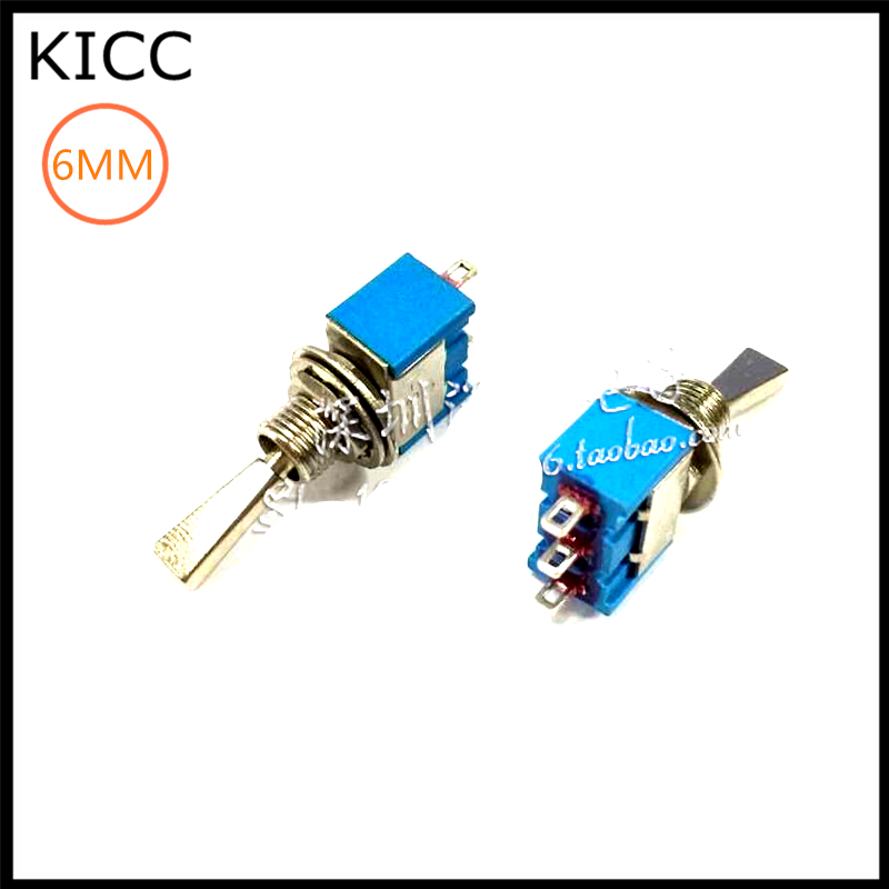 6MM Blue Flat handle 3Pin 3File MTS-103 Rocker switch 6A125V ON-OFF-ON Toggle Switch 5Pcs
