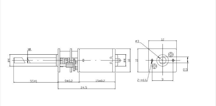3v-6v gear motor:micro/ M4 * 55 thread    lzx