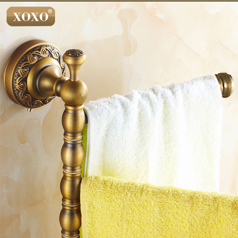 XOXO Solid Brass Vintage Style Bathroom Revolve  Towel Bar Antique Brass Four Tiers Bath Towel Holder Rack Wall Mounted TL564B