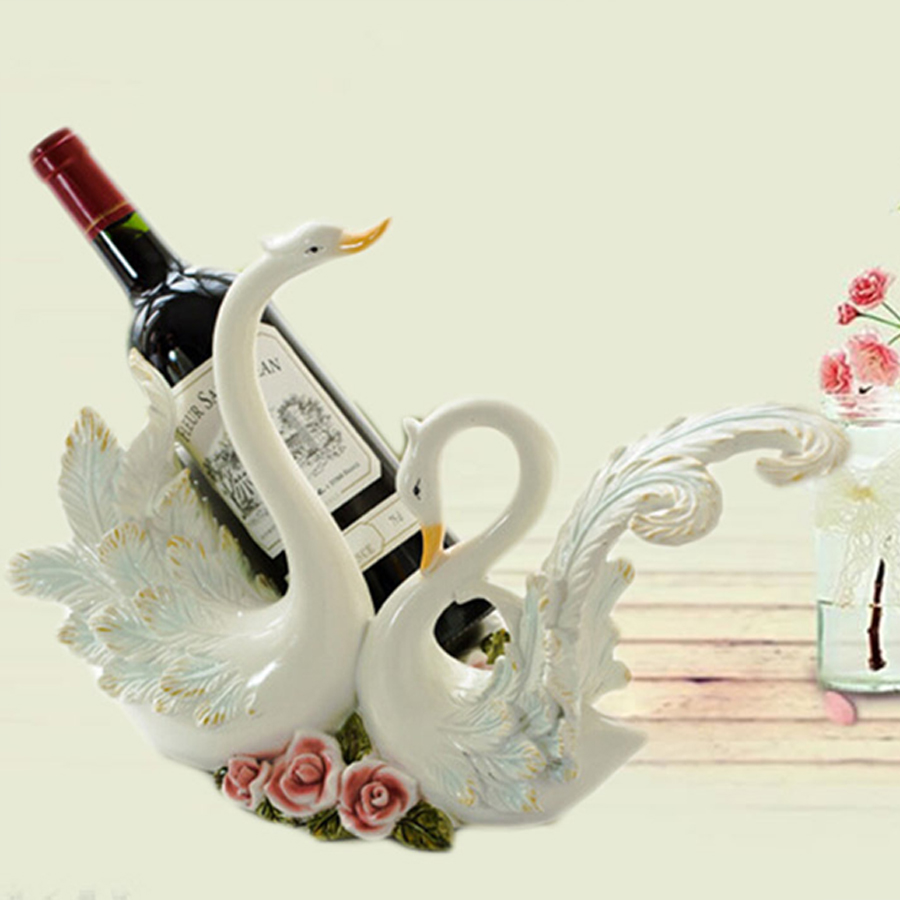 Wholesale resin wine racks creative European - style natal home decorations high - end Swan wine rack gifts