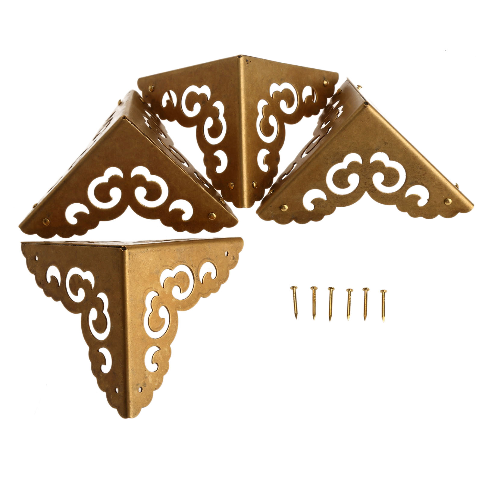 Merveilleux 4Pcs 65mm Decorative Corner Bracket For Furniture Wood Box Brass Feet Corner  Protector For Furniture Fittings ...