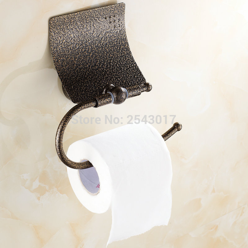 Solid Brass Bathroom Hardware Toilet Paper Holder Roman Bronze Finish Wall Mounted Tissue Boxes Waterproof ZR2346