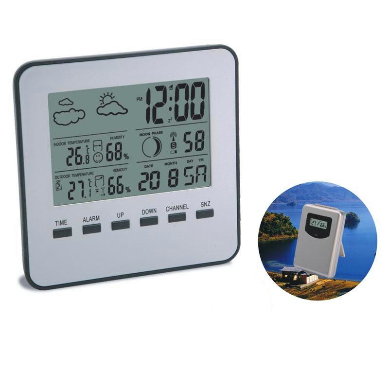 Wireless LCD Digital Home Thermometer Hygrometer Silver Weather Station Temperature Humidity Meter Weather Forecast Alarm Clock