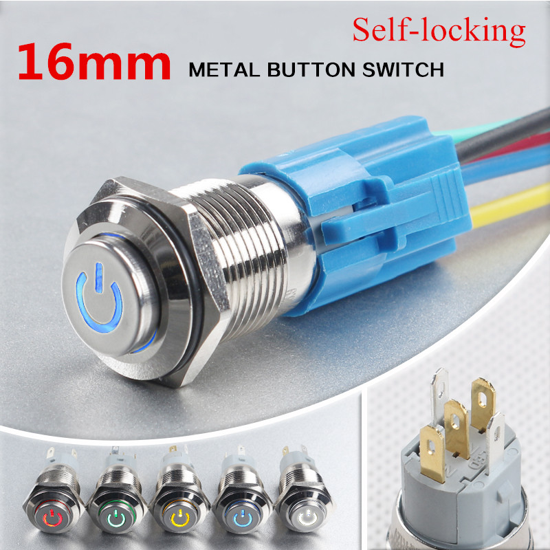 5-Colors Car Computer Appliances DIY 16mm 12V Metal LED Power Push Button Switch Self-locking Button with Power symbol 004#