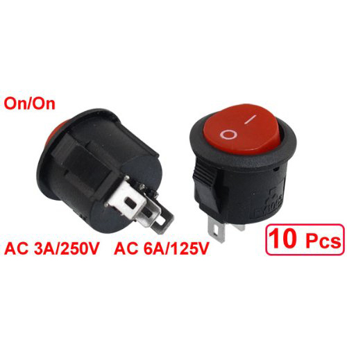 CNIM Hot 10 pcs SPDT Black Red Button On/On Round Rocker Switch AC 6A/125V 3A/250V