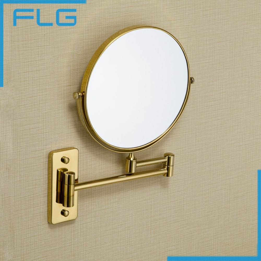 Brand New Wall Mounted Single Side 8inch Magnification Mirror for Makeup Bathroom gold Cosmetic Mirror