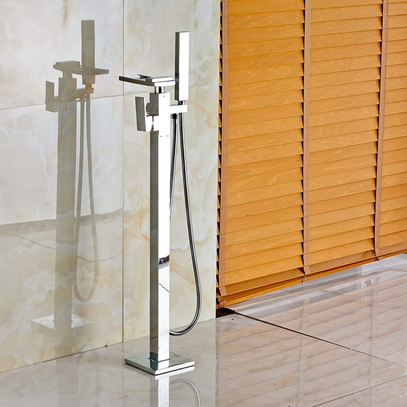 Free Standing Waterfall Spout Tub Faucet Mixr Tap Floor Mount Tub Filler Mixer