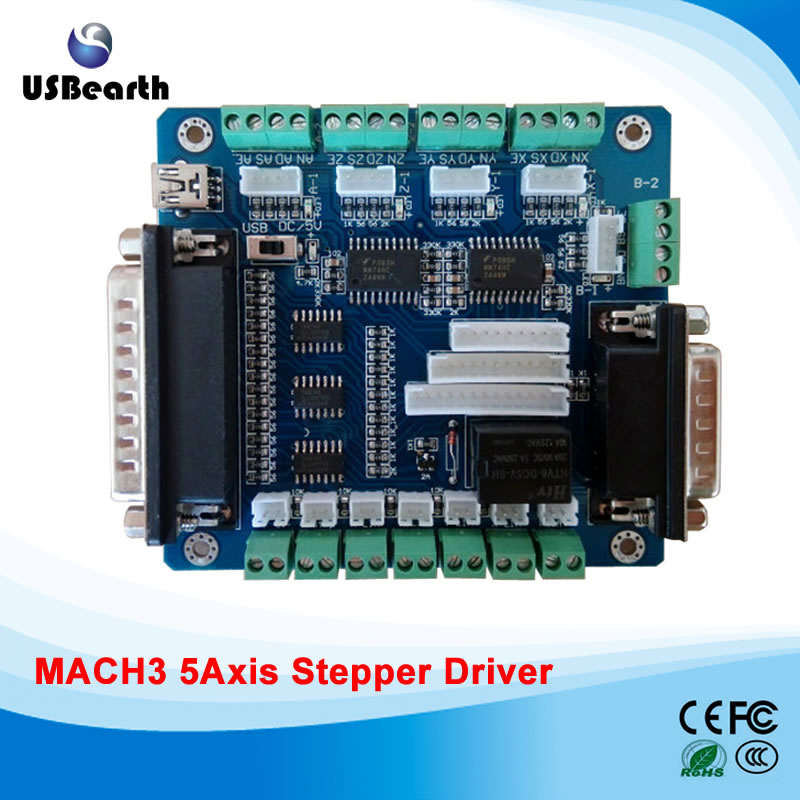5 Axis USB Breakout Board For CNC router Single Stepper Motor Driver Controller