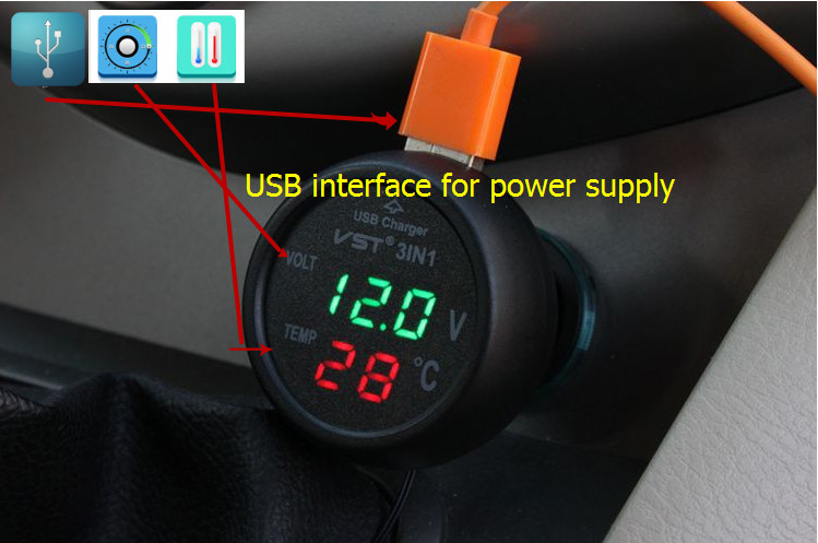 Newest car-detector Digital Voltmeter Motorcycle Car temperature Meter Red Green LED DC 0-100V dispaly  Volt Meter Gauge Ammeter