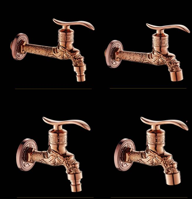 New Style Rose Gold Dragon Carved Bibcocks Faucet Brass Bathroom Washing Machine faucet Bibcock tap Outdoor bathroom mixer