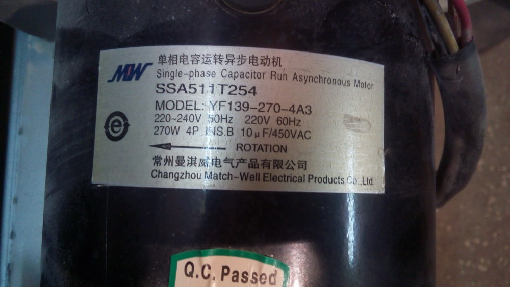 Fast Shipping MOW YF139-270-4A3 220V 60Hz 270W 4 Pole single phase capacitor run asynchronous motor