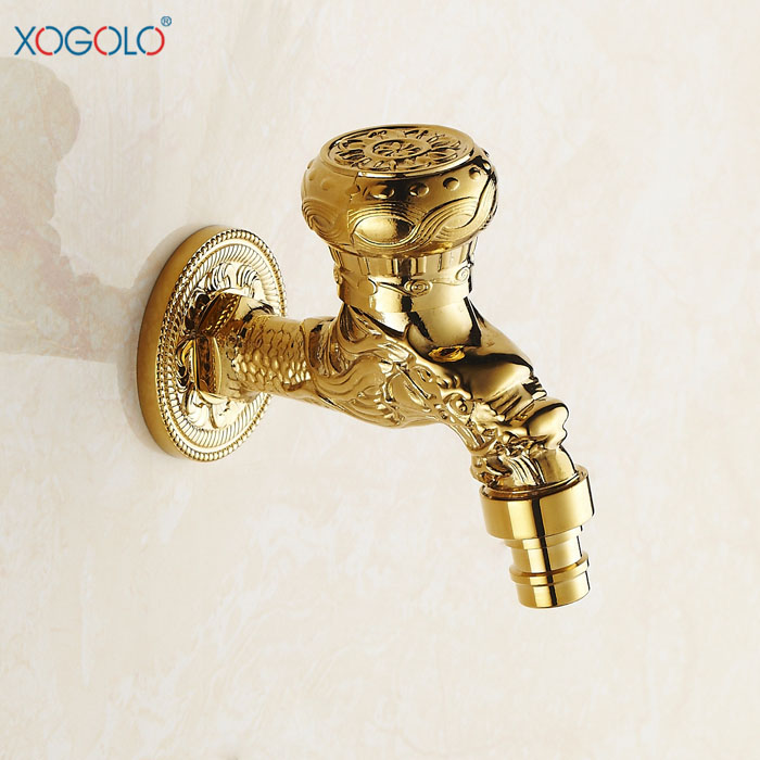 "Xogolo Luxury Solid Brass Bid Tap 1/2"" with Metal Knob Wall Mount, Gold-Plated Color Single Hole for  Washbasin faucet, 4301"