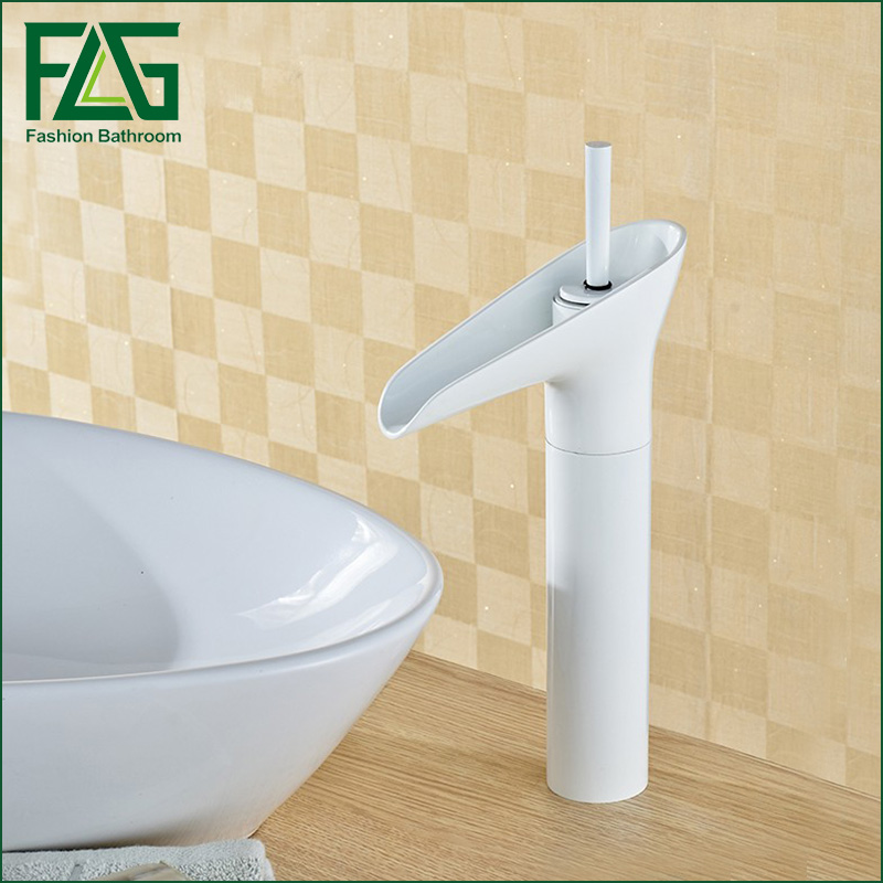 High quality fashion design bathroom countertop basin mixer faucet brass material white water tap