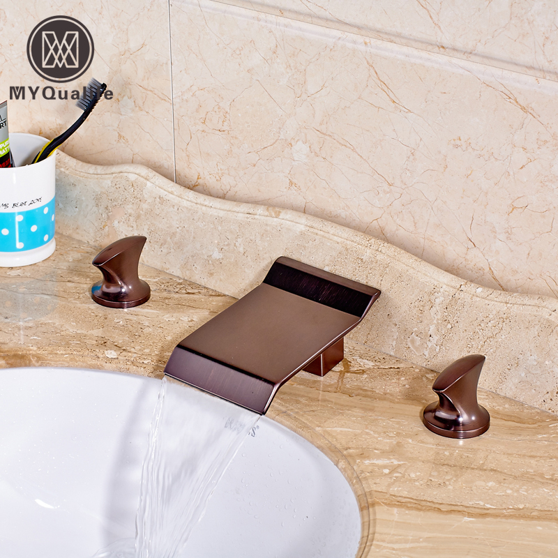 Good Quality Dual Handles Waterfall Basin Faucet Deck Mount Widespread Bath Mixer Taps Oil Rubbed Bronze
