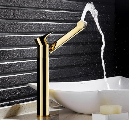 Rotating Basin faucet brass bathroom faucet luxury gold sink kitchen faucet heightened water tap tall sink faucet