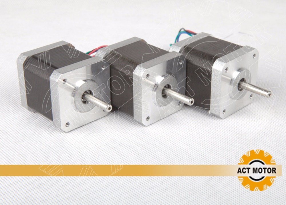 Top Quality! ACT 3PCS Nema17 Stepper Motor 17HS4417 2Phase 56oz-in 40mm 1.7A CE ROSH ISO 3D Printer ISO CE ROSH