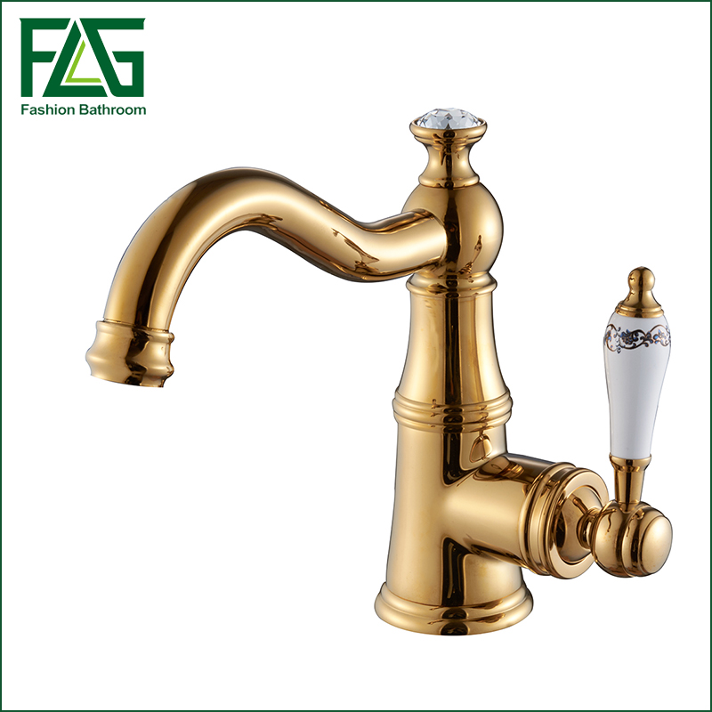 2016 Newly Basin Faucet Gold Polished Brass & Crystal Hot Cold Mixer Basin Tap Luxury Faucet Crane