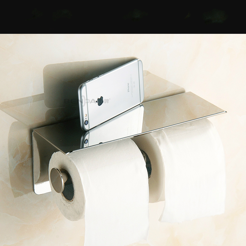 Modern 304 Stainless Steel Paint Toilet Paper Holder Mobile Phone Holder Tissue Box Wall Mount Bathroom Accessories og8