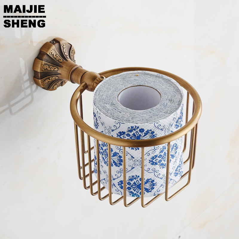 box in bathroom accessories Whole brass Antique bathroom paper basket holder with full green stone brass tissue box hand paper