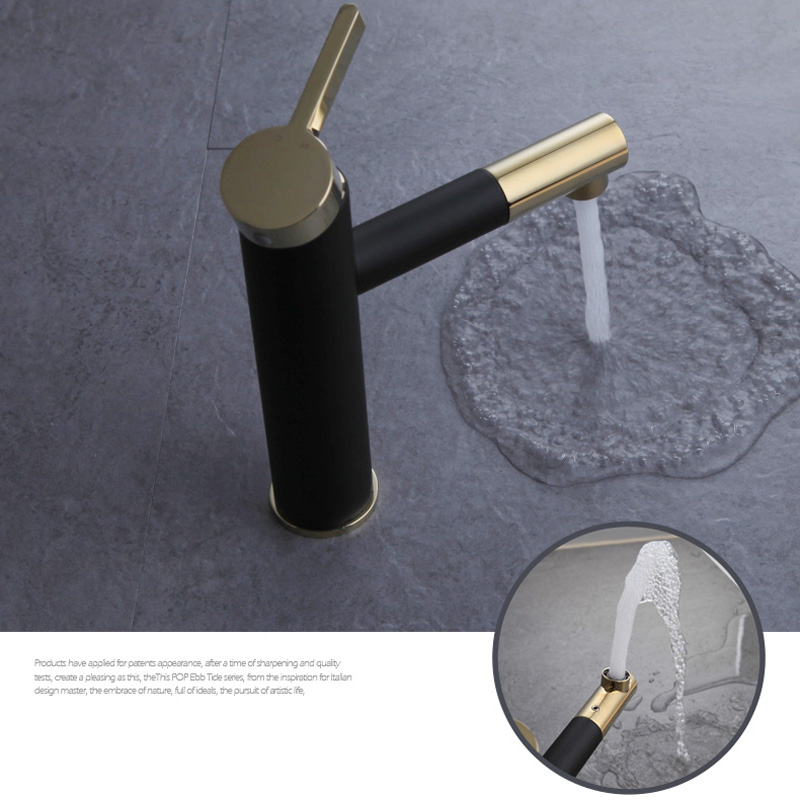 becola new design brass faucet gold plated handle bathroom faucet fashion black basin tap F-0069