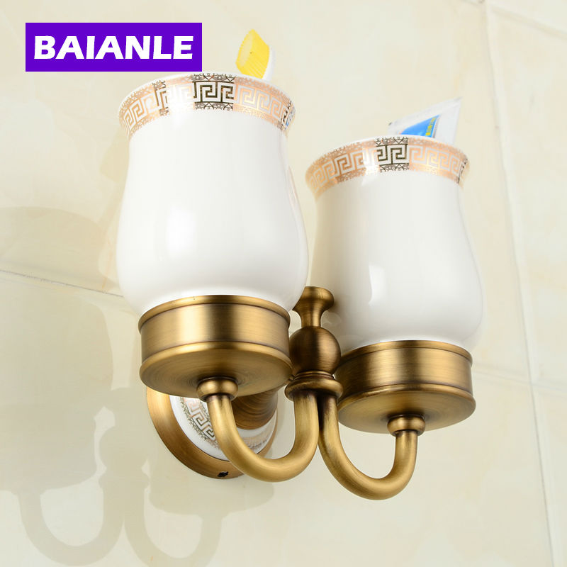 Top Quality Luxury European style Antique Copper Ceramics  Toothbrush Tumbler&Cup Holder with 2cups Wall Mounted Bath Product