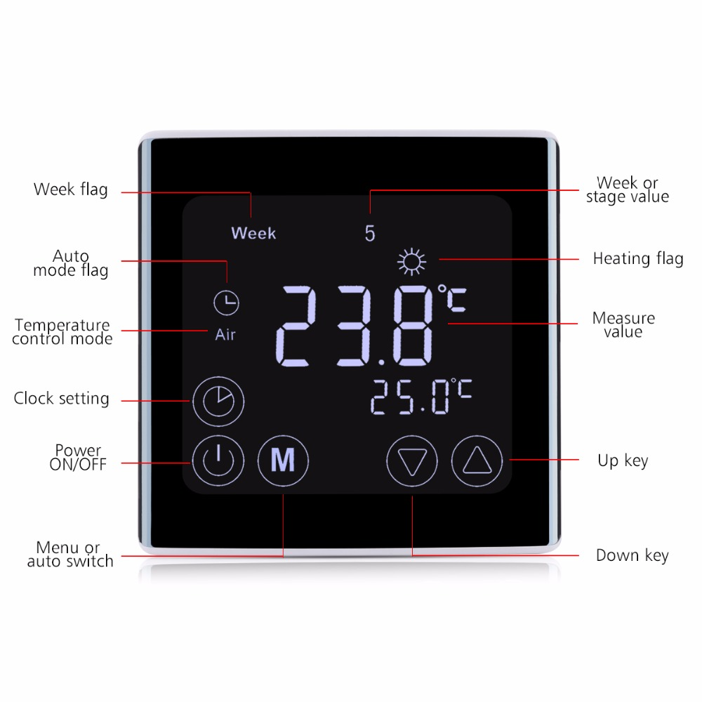 Weekly Programmable Underfloor Heating Thermostat LCD Touch Screen Room Temperature Controller Thermostat White Backlight