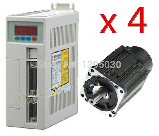 New 4Sets High Quality 60ST-M01930 AC Servo Motor 1.91N.M 600W 3000RPM 60ST with Driver System 60ST-M01930