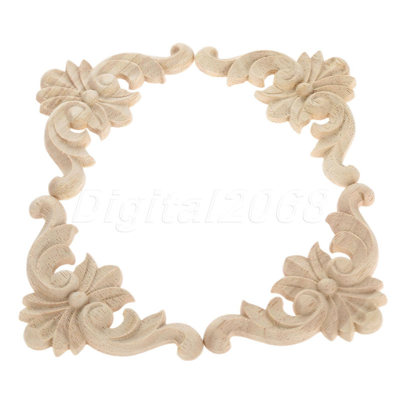4Pcs New Arrival  Wood Oak Carved Corner Onlay Applique Furniture Unpainted