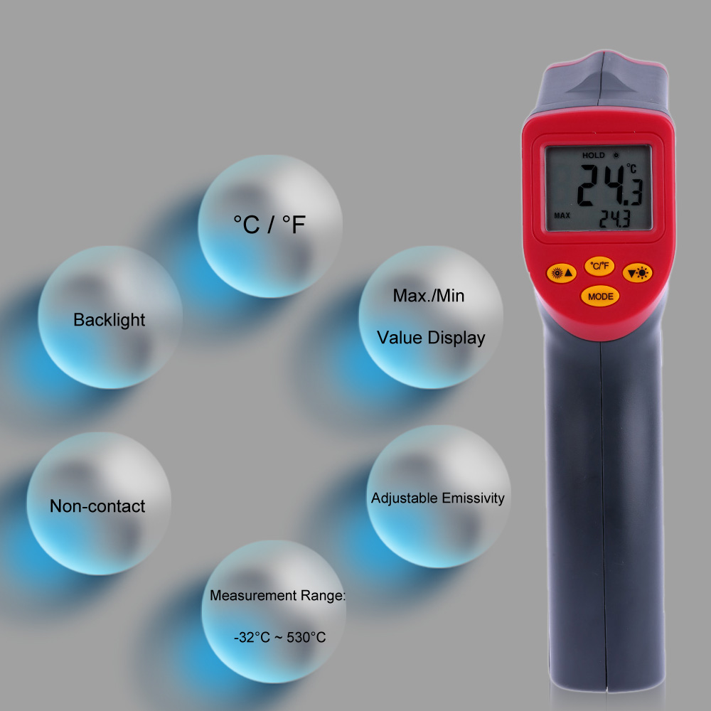 12:1 Handheld Digital Infrared IR Thermometer Temperature Tester Pyrometer LCD Display termometro with Backlight -32~530 Degrees