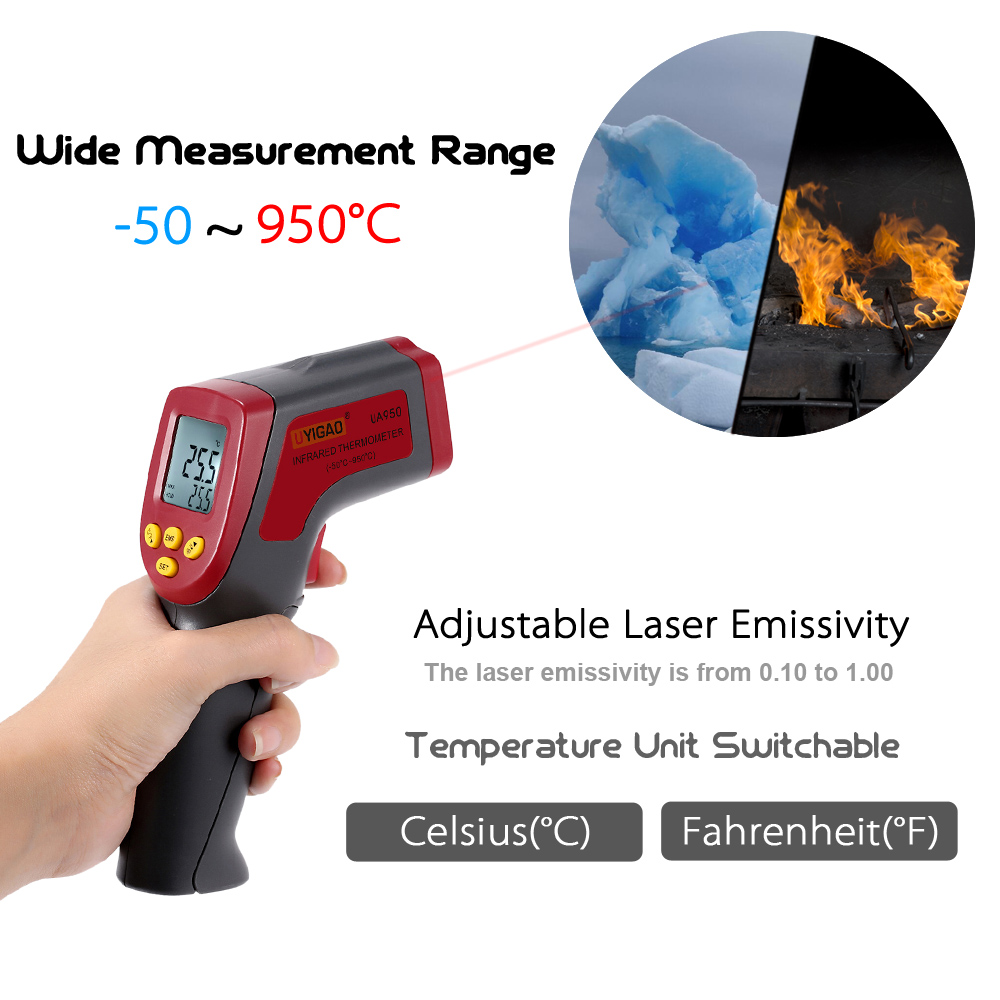 UYIGAO UA950 Digital LCD Infrared IR Thermometer Temperature Tester Pyrometer thermometre infrarouge termometro infrarrojo
