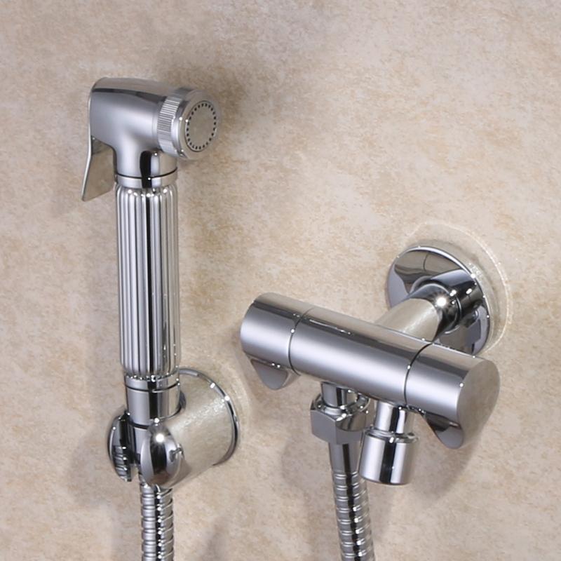 Brass Toilet Handheld Bidet Spray Shattaf + Hot & Cold Water ...