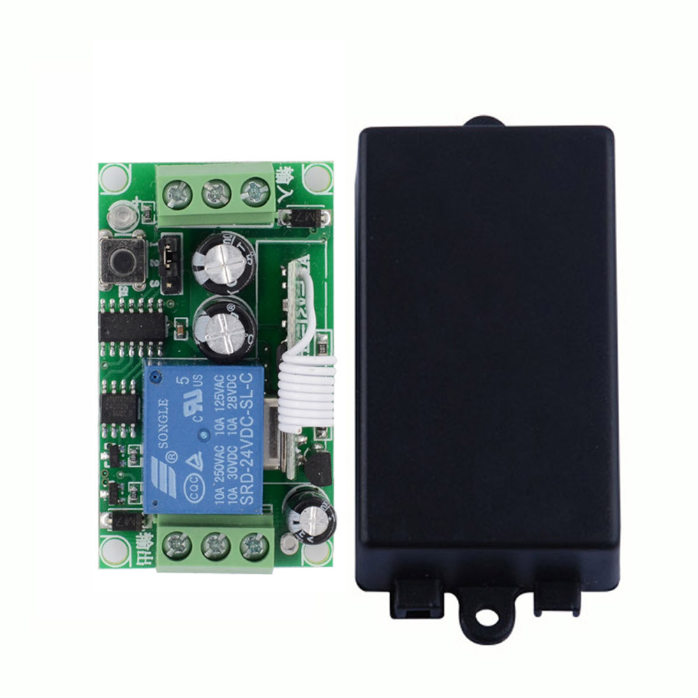 DC 24 V 1CH 10A Relay RF Wireless Remote Control Switch Wireless Light Switch  Receiver Transmitter