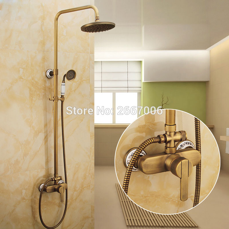 Freight Free Brand New Shower Set Antique Finish Copper Bath Faucet With Shower Wall Mount Water Mixer Shower Set China GI242