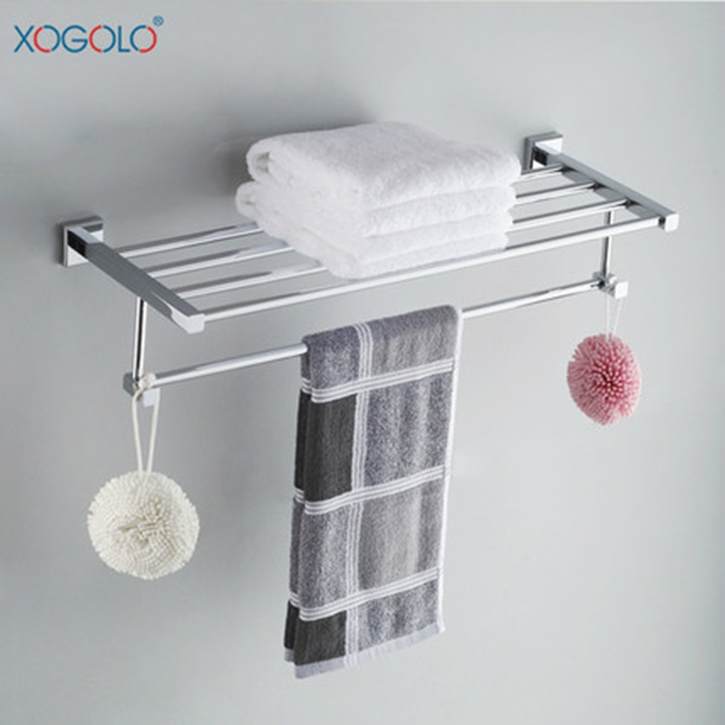 Xogolo Copper Polished Chrome Brief Style Sturdy Wall Mounted Bathroom Towel Rack Towel Holder Accessories Good Quality