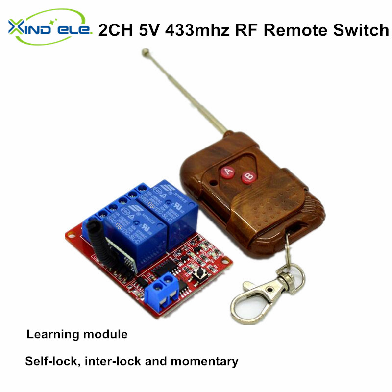 5V 2 Channel  RF Wireless Remote Control Light Switch Receiver Relay Module 433MHz interruptor