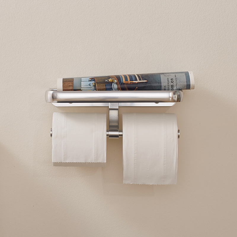Bathroom aluminum double paper holder with phone shelf bathroom holder plate with Roll Holder,Tissue Holder With plate