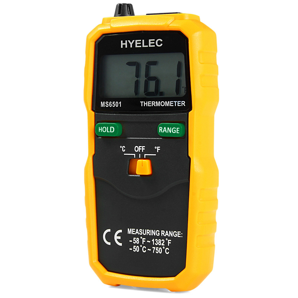 HYELEC MS6501 Digital Thermometer Professional LCD Display Wireless K Type Temperature Meter Thermocouple W/ Data Hold/Logging