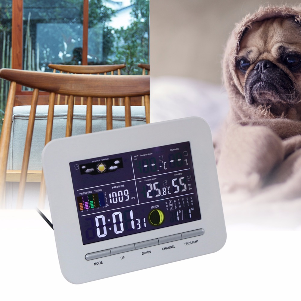 High Quality Portable Wireless LCD Display Weather Station Indoor Outdoor Thermometer Humidity Clock Home Office Use