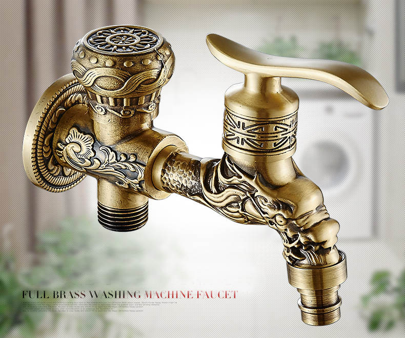 Full Brass Antique Brass Washing Machine Faucet Mop Pool Mixer Tap Wall Mounted