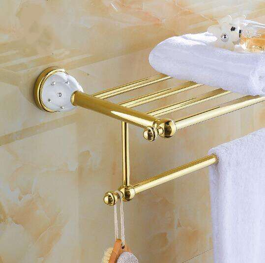 New arrival Towel Racks Luxury Bathroom Accesserries High Quality Golden Finish Bath Towel Shelves Towel Bar bath Towel Rail