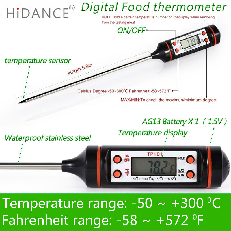 HiDANCE Electronic Digital Thermometer instruments hydrometer Meat Food Probe Kitchen Cooking weather station temperature sensor
