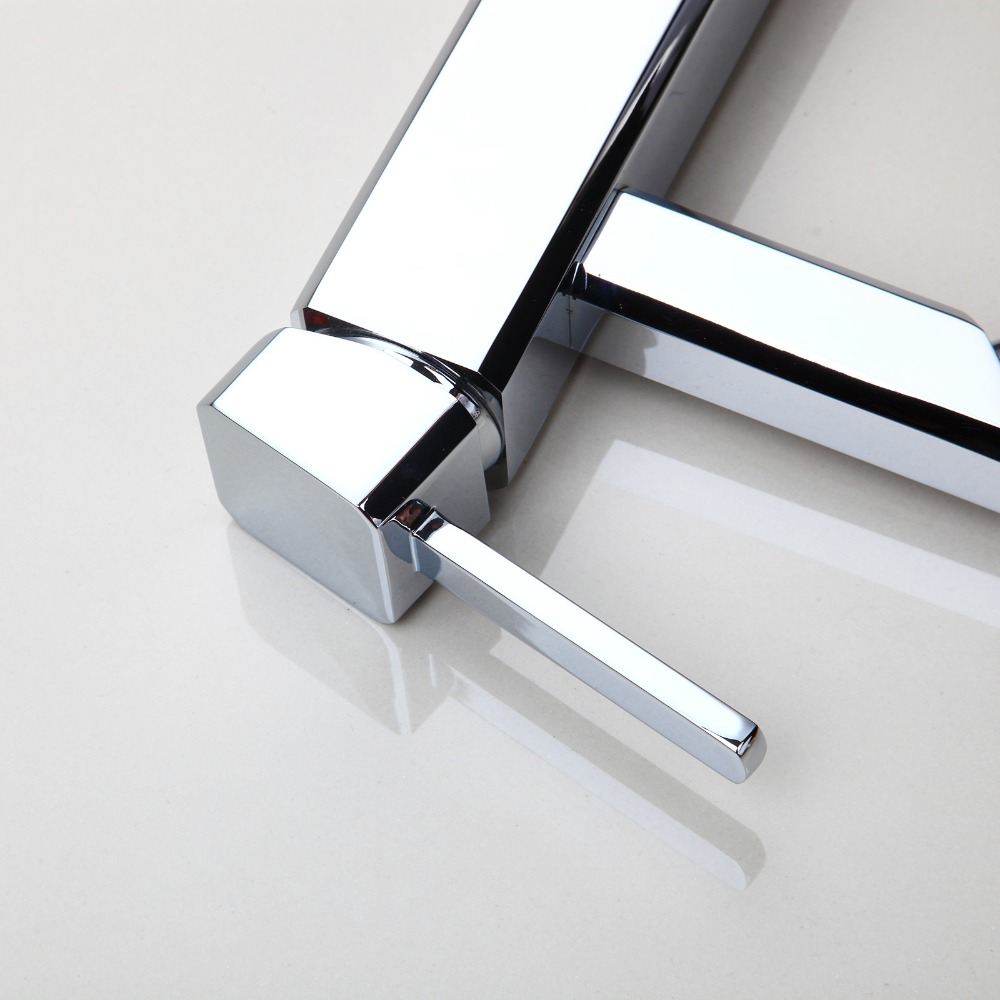Chrome Finish Deck Mounted Faucet  Hot & Cold Water Mixer Luxury Single Lever Tap Bathroom Basin Sink Kitchen Taps