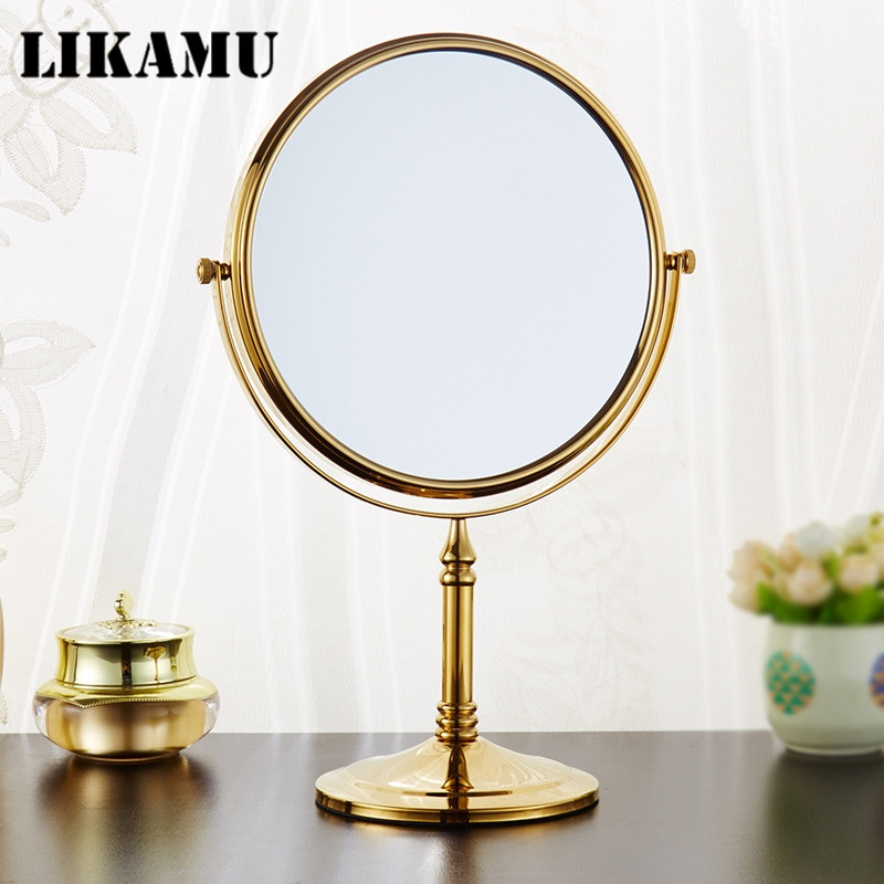 "Antique Mirror Bathroom Float Mirror Magnifying Mirror Double Sided  8"" Wall Mounted Bathroom Mirror with golden finished"